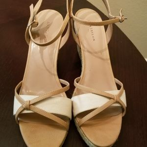 Tan and camel color wedges sandal